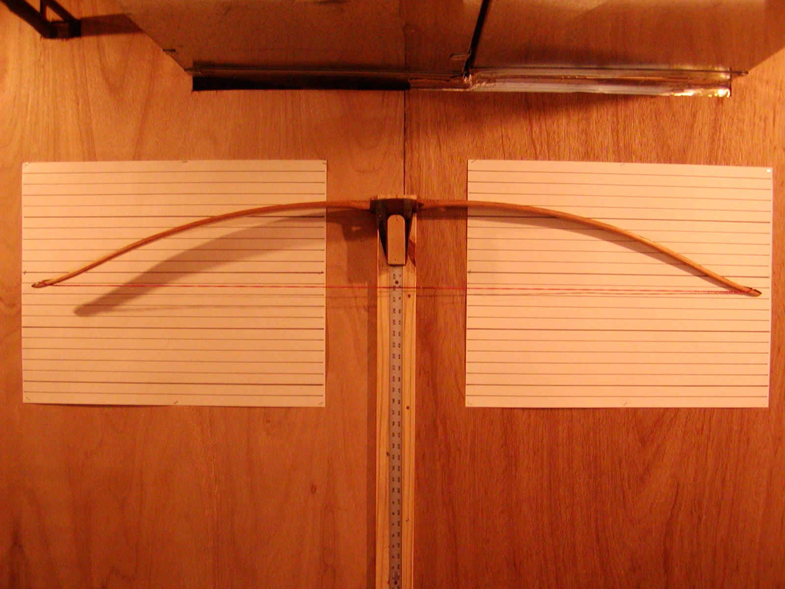 Red oak board bow braced